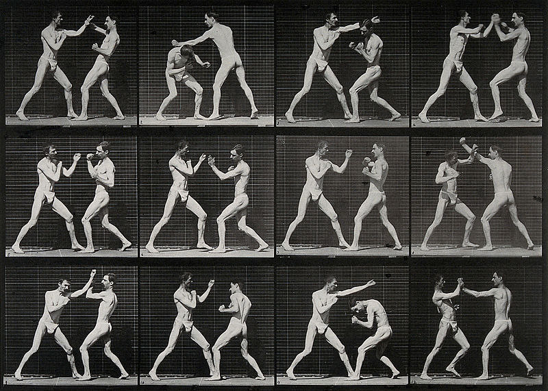 'Two men boxing', 1887. Eadweard Muybridge